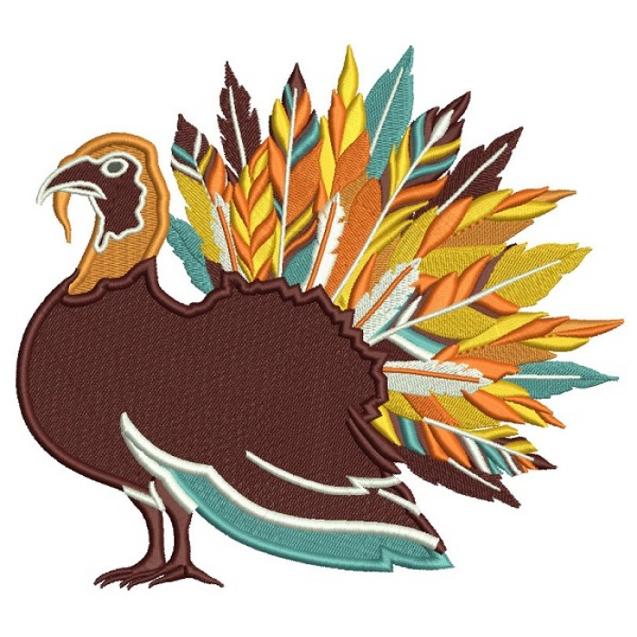 Fancy Feathered Turkey Thanksgiving Filled Machine Embroidery Design Digitized Pattern