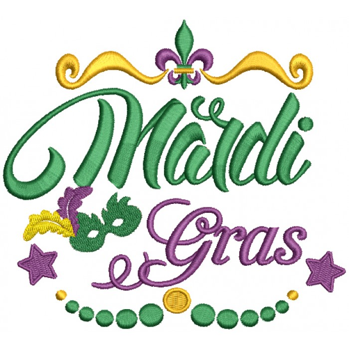 Fancy Mardi Gras Border Filled Machine Embroidery Design Digitized Pattern