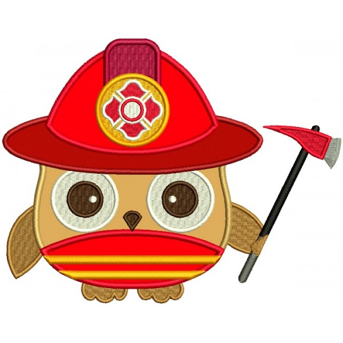 Firefighter Owl Applique Machine Embroidery Design Digitized Pattern