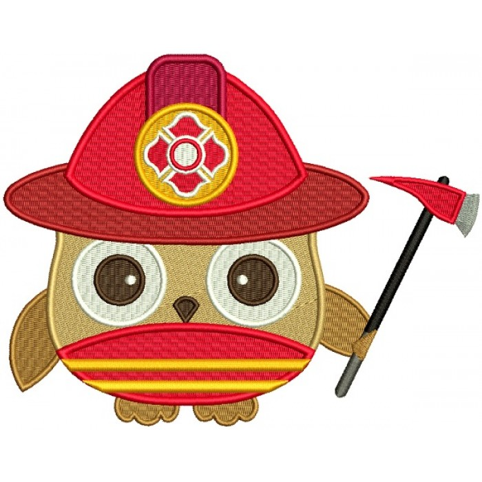 Firefighter Owl Filled Machine Embroidery Design Digitized Pattern