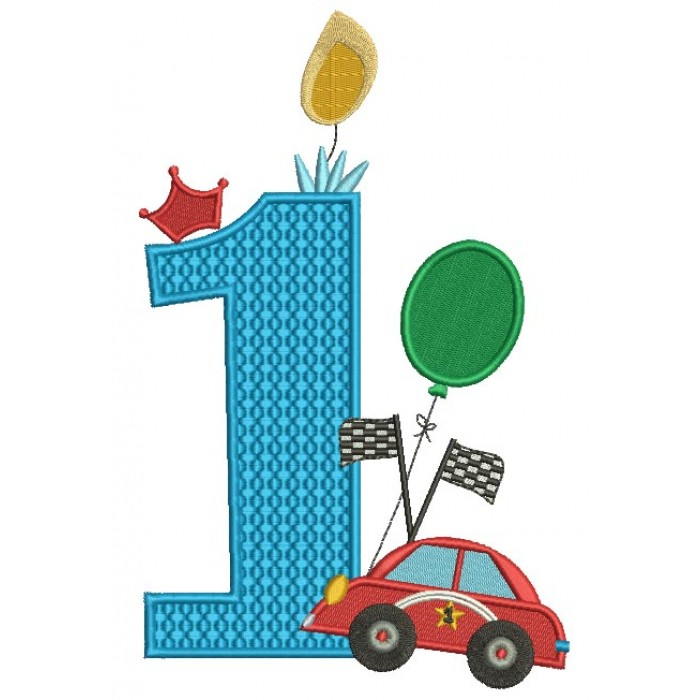 First Birthday With a Car Filled Machine Embroidery Design Digitized Pattern