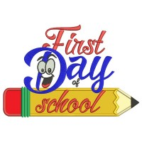 First Day Of School Pencil Applique Machine Embroidery Design Digitized Pattern