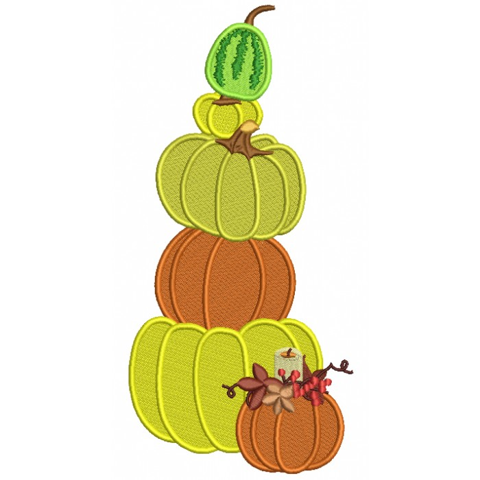 Five Pumpkins Vertically Stacked Filled Machine Embroidery Design Digitized Pattern