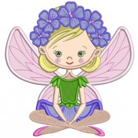 Flower Fairy Applique Machine Embroidery Design Digitized Pattern