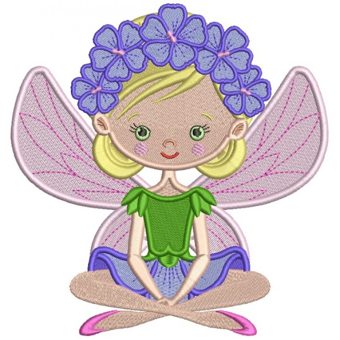 Flower Fairy Filled Machine Embroidery Design Digitized Pattern