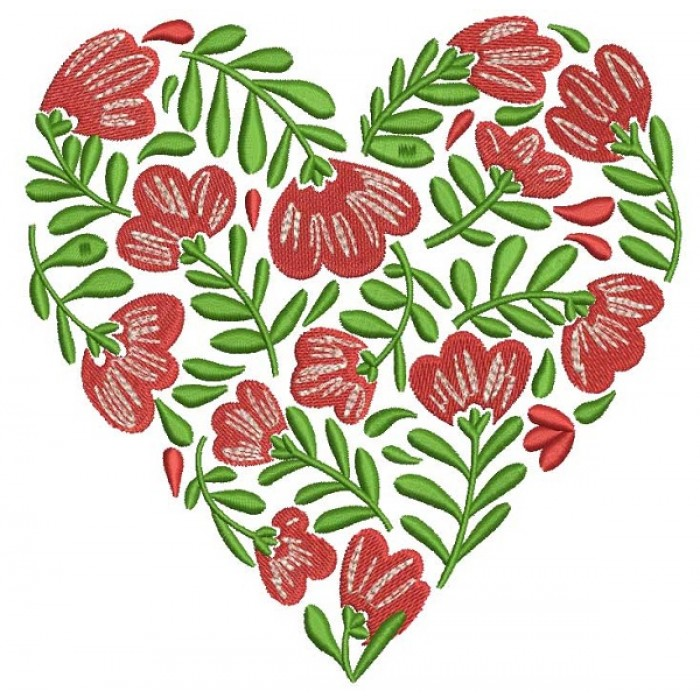 Flowers Heart Filled Machine Embroidery Design Digitized Pattern