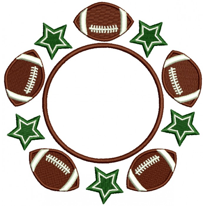Football And Stars In The Circle Filled Machine Embroidery Design