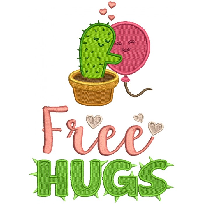 Free Hugs Cactus Hugging Balloon Filled Machine Embroidery Design Digitized Pattern