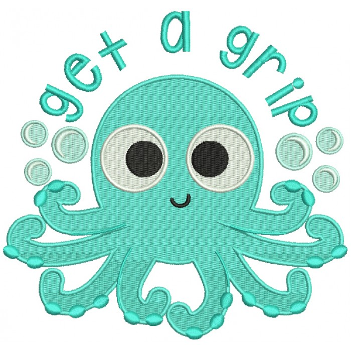Get a Grip Octopus Marine Filled Machine Embroidery Design Digitized Pattern