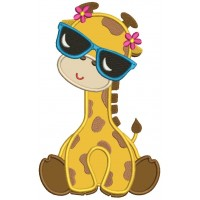Giraffe Wearing Sunglasses Applique Machine Embroidery Design Digitized Pattern