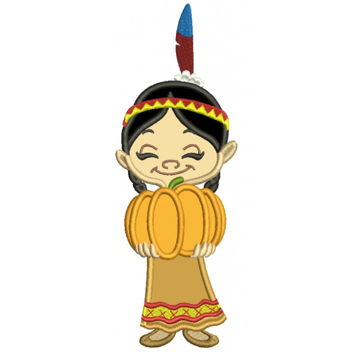 Girl Indian Holding Pumpkin Thanksgiving Applique Machine Embroidery Design Digitized Pattern