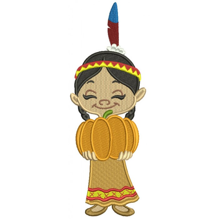 Girl Indian Holding Pumpkin Thanksgiving Filled Machine Embroidery Design Digitized Pattern