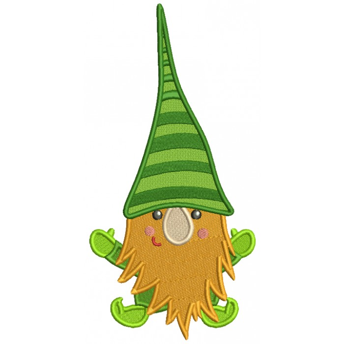 Gnome With Beard Filled St. Patrick's Day Machine Embroidery Design Digitized Pattern