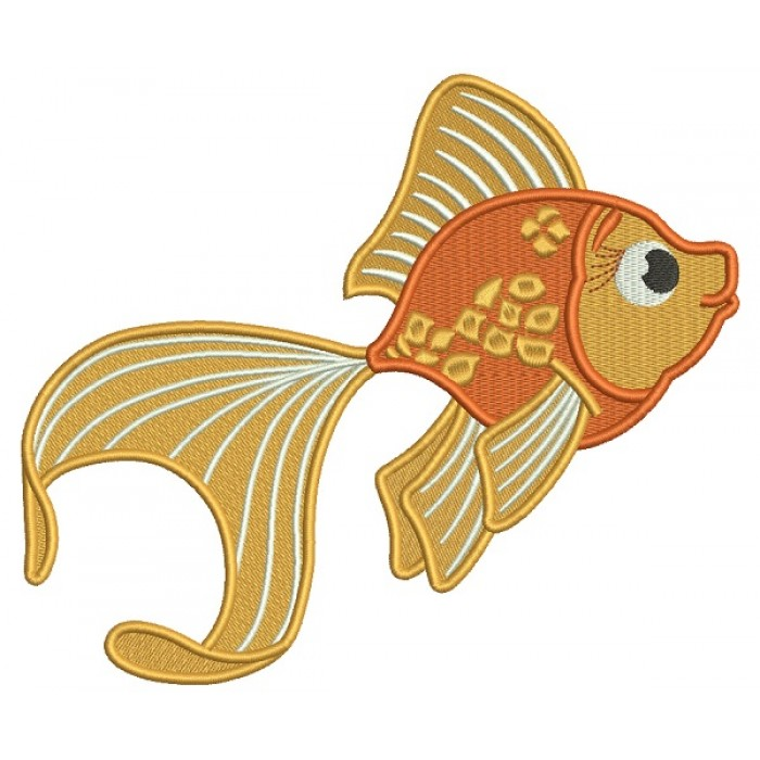 Goldfish Filled Machine Embroidery Design Digitized Pattern