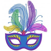 Gorgeous Mardi Gras Mask With Big Feathers Applique Machine Embroidery Design Digitized Pattern