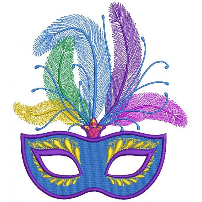 Gorgeous Mardi Gras Mask With Big Feathers Filled Machine Embroidery Design Digitized Pattern