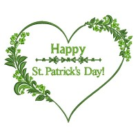 Happy St. Patrick's Day Heart Filled Machine Embroidery Design Digitized Pattern