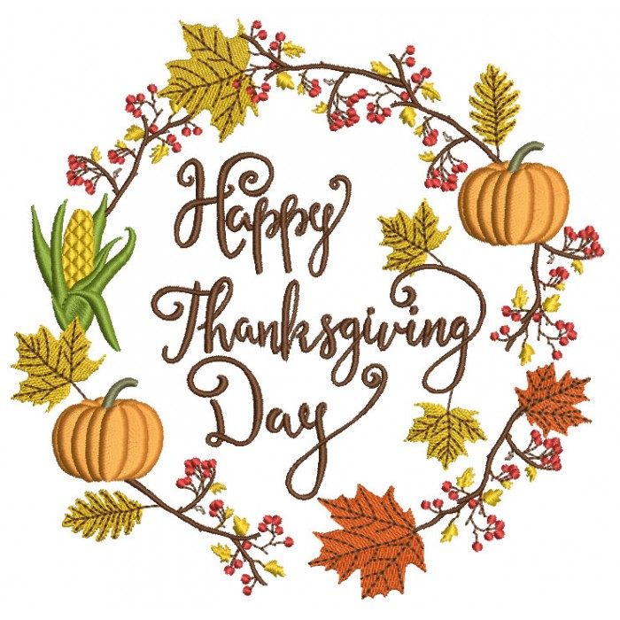 Happy Thanksgiving Day Fall Arrangement Filled Machine Embroidery Design Digitized Patter