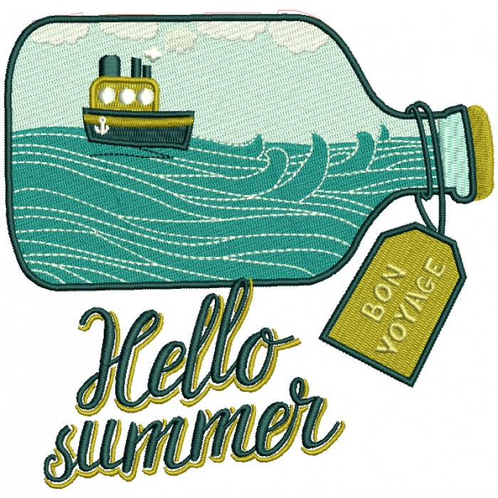 Hello Summer Bon Voyage In The Bottle Filled Machine Embroidery Design Digitized Pattern