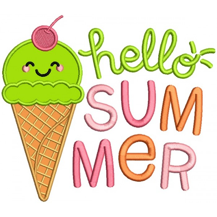 Hello Summer Ice Cream Applique Machine Embroidery Design Digitized Pattern