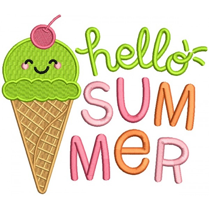 Hello Summer Ice Cream Filled Machine Embroidery Design Digitized Pattern