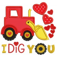 I Dig You Excavator With Hearts Applique Machine Embroidery Design Digitized Pattern