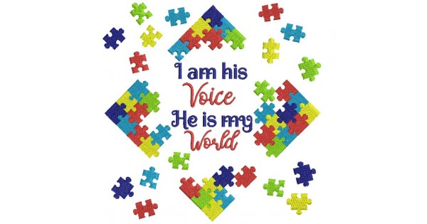 I Am His Voice He Is My World Autism Awareness Filled