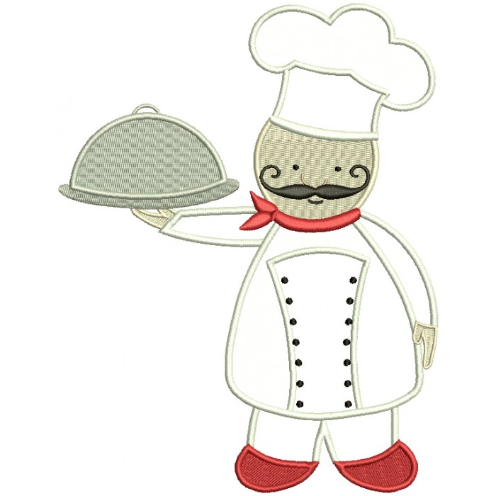 Kitchen Chef Applique Machine Embroidery Design Digitized Pattern