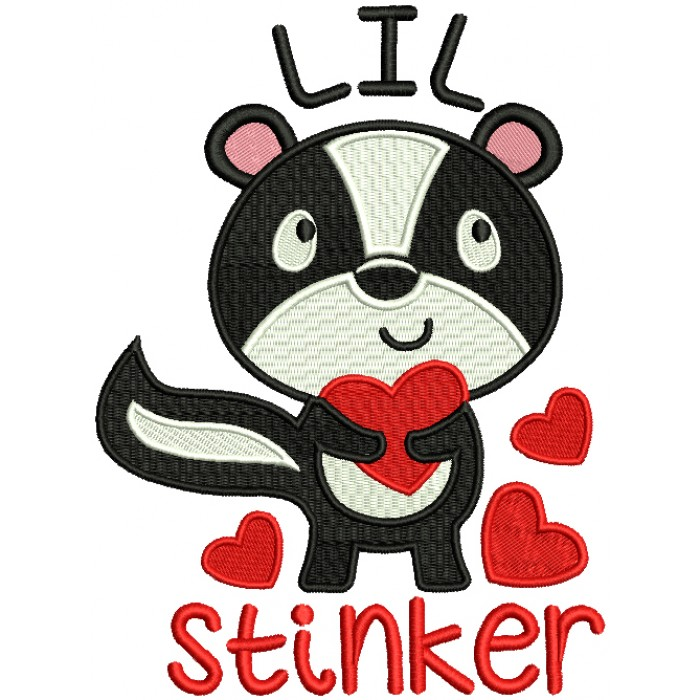 LIL Stinker Cute Little Skunk Holding a Heart Love Filled Machine Embroidery Design Digitized Pattern