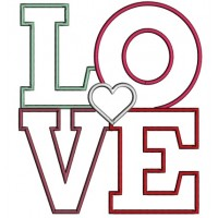 LOVE With Little Heart Applique Machine Embroidery Design Digitized Pattern