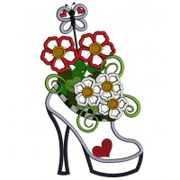 Lady's High Heel Shoe With Flowers Applique Machine Embroidery Design Digitized Pattern