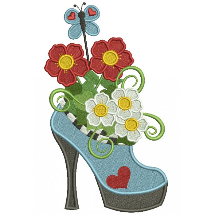 Lady's High Heel Shoe With Flowers Filled Machine Embroidery Design Digitized Pattern