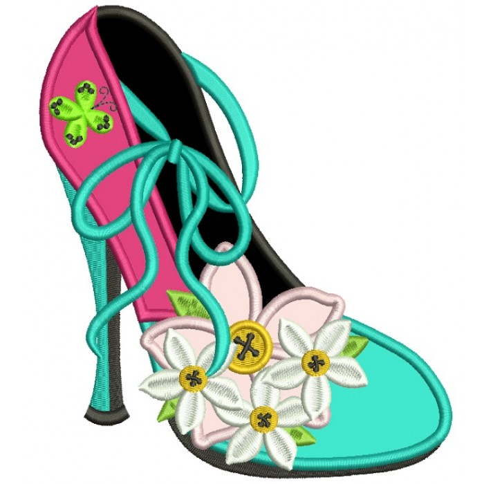 Lady's Shoe With Pretty Daisies Applique Machine Embroidery Design Digitized Pattern