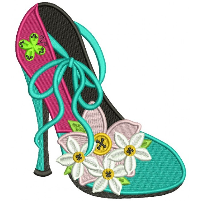 Lady's Shoe With Pretty Daisies Filled Machine Embroidery Design Digitized Pattern
