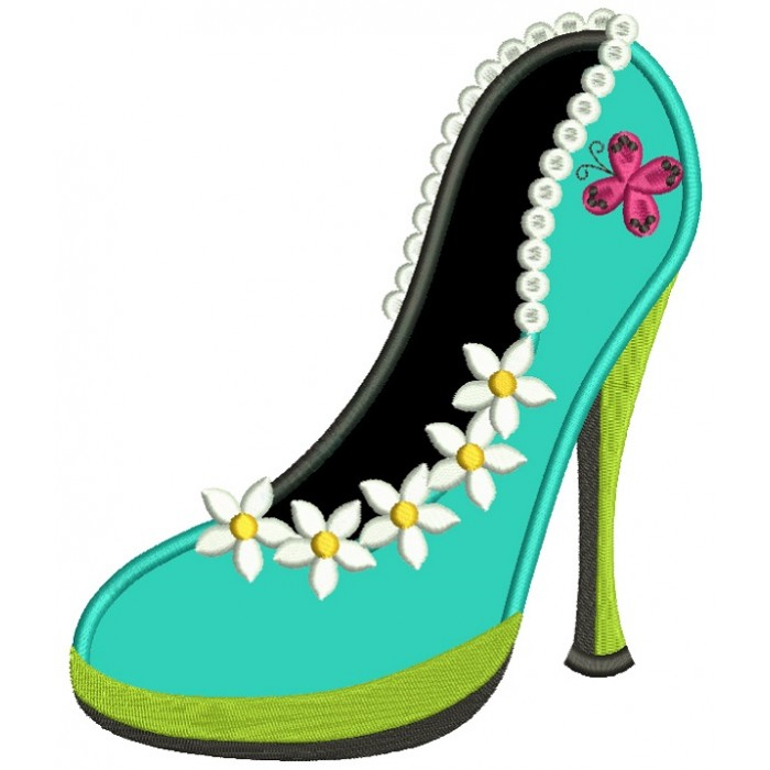 Lady's Shoe With Pretty Flowers Applique Machine Embroidery Design Digitized Pattern