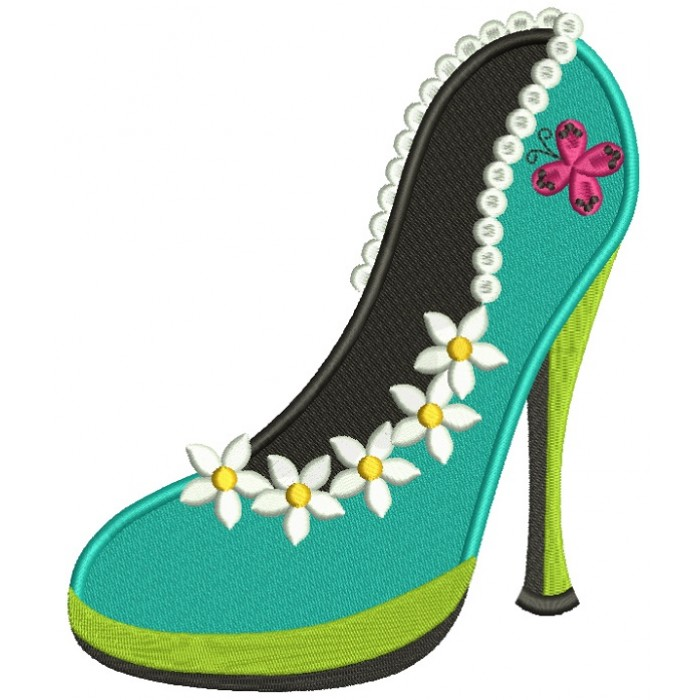 Lady's Shoe With Pretty Flowers Filled Machine Embroidery Design Digitized Pattern