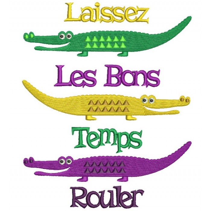 Laissez Les Bons Temps Rouler Mardi Grass Crocodiles Filled Machine Embroidery Design Digitized Pattern