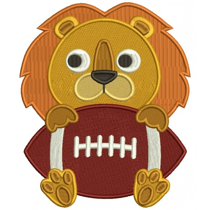 Lion With a Football Sports Filled Machine Embroidery Design Digitized Pattern