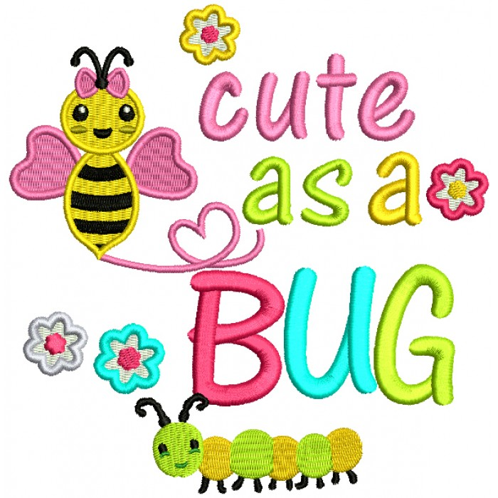 Little Bee Cute As a Bug Filled Machine Embroidery Design Digitized Pattern