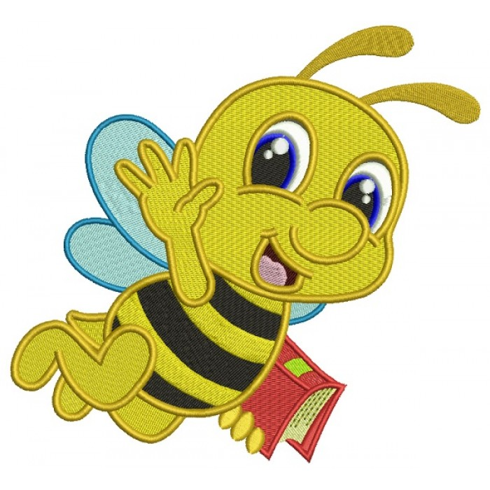 Little Bee With a Book School Filled Machine Embroidery Design Digitized Pattern