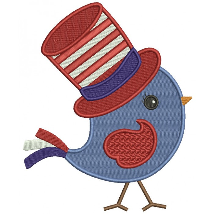 Little Bird Wearing Patriotic Hat Filled Machine Embroidery Design Digitized Pattern
