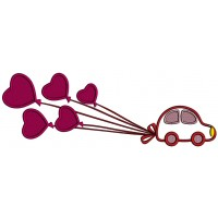 Little Car Pulling Big Balloons Applique Machine Embroidery Design Digitized Pattern
