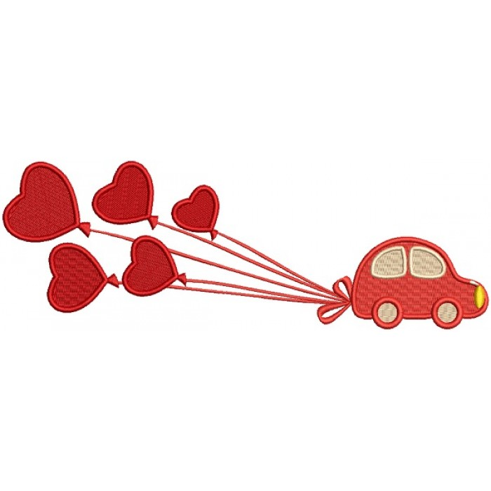 Little Car Pulling Big Balloons Filled Machine Embroidery Design Digitized Pattern