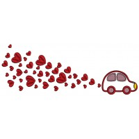 Little Car Pulling Lots Of Hearts Applique Machine Embroidery Design Digitized Pattern