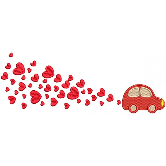 Little Car Pulling Lots Of Hearts Filled Machine Embroidery Design Digitized Pattern
