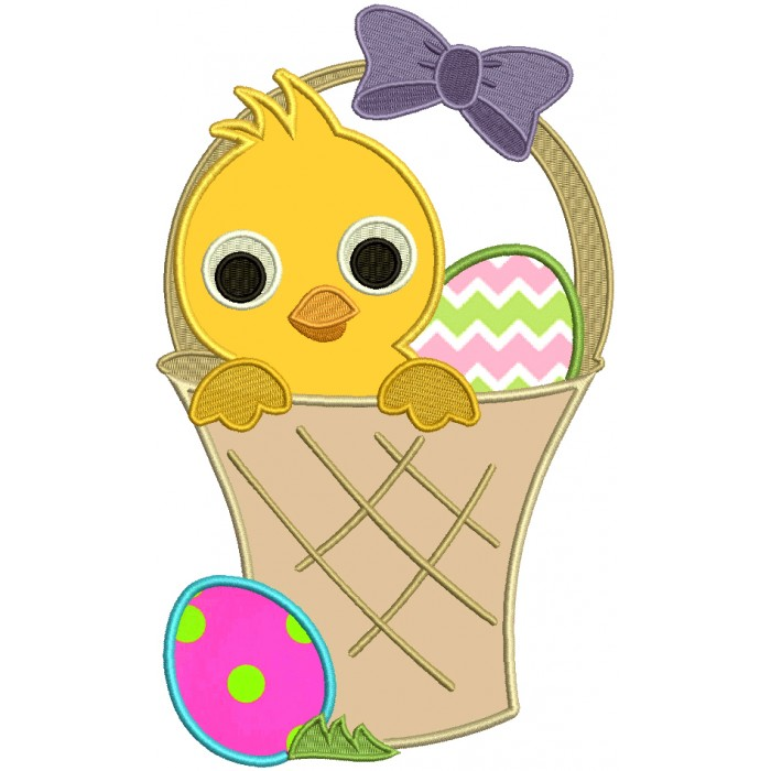Little Chick Sitting Inside Basket With an Easter Egg Applique Machine Embroidery Design Digitized Pattern