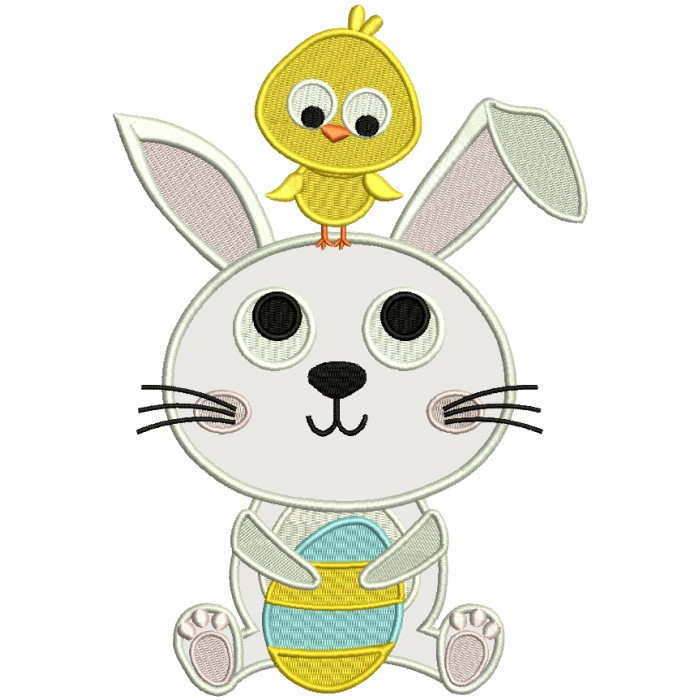Little Chick Sitting On Easter Bunny Applique Machine Embroidery Design Digitized Pattern
