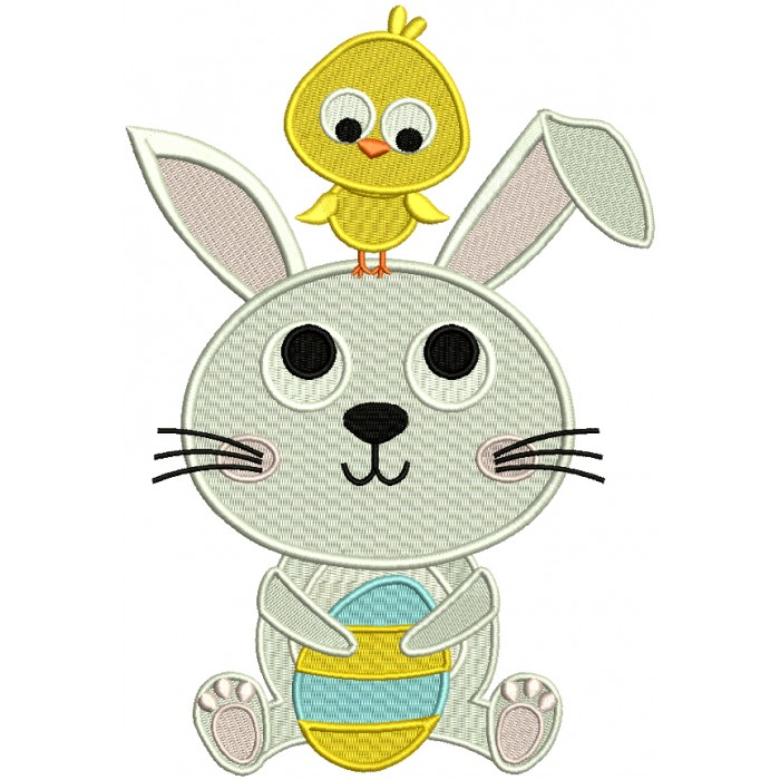 Little Chick Sitting On Easter Bunny Filled Machine Embroidery Design Digitized Pattern