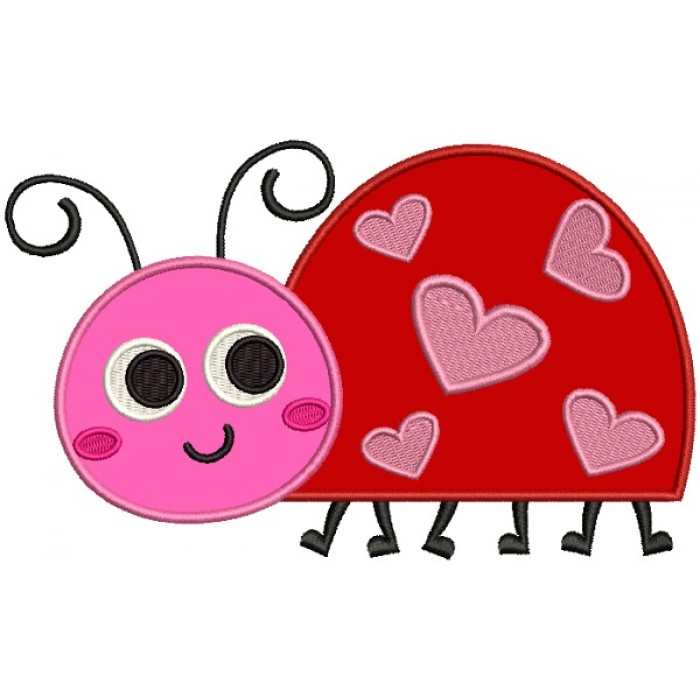 Little Cute Ladybug With Hearts Applique Machine Embroidery Design Digitized Pattern
