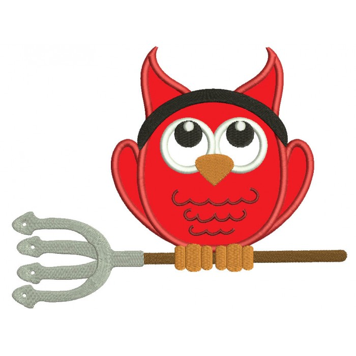 Little Devil Owl Halloween Applique Machine Embroidery Design Digitized Pattern